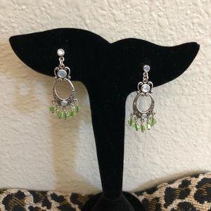 Sterling Mother of Pearl/green dangle earrings